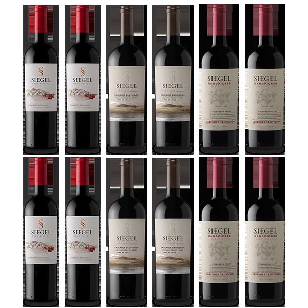 Vino Siegel en Oferta Pack Cabernet Sauvignon tintos Handpicked, Gran Reserva y Single Vineyard